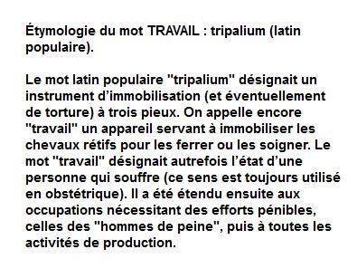 tymologie du mot travail tripalium instrument de